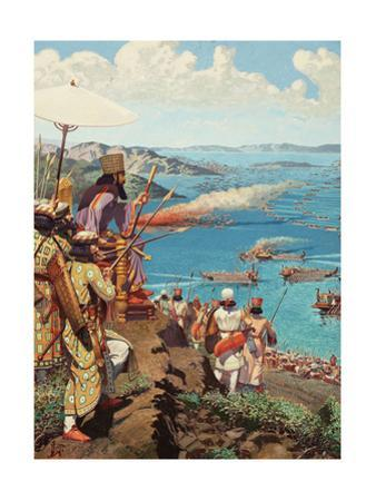 Xerxes Watches the Battle of Salamis from Mount Aegaleos by H.M. Herget