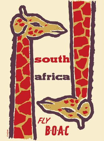 South Africa- Giraffes - Fly BOAC (British Overseas Airways Corporation) by H. Niezen