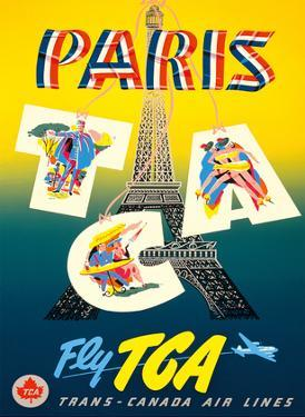 Paris, France - Eiffel Tower - Fly TCA (Trans-Canada Air Lines) by H. P.