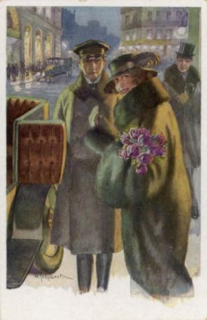 An Elegant Viennese Lady Enters Her Chauffeur-Driven Car at Night Clutching a Bunch of Roses