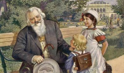 Johannes Brahms German Musician with Child Friends