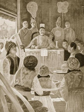 Siamese Envoys Paying Tribute to Emperor of China, Illustration, 'Hutchinsons History of Nations'