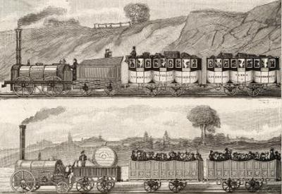 Liverpool-Manchester Railway Early Passenger Trains on the Line