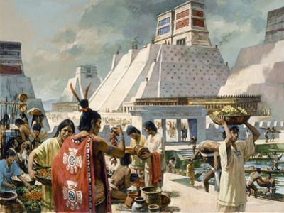 A Bustling Marketplace in the Aztec Capital of Tenochtitlan by H. Tom Hall