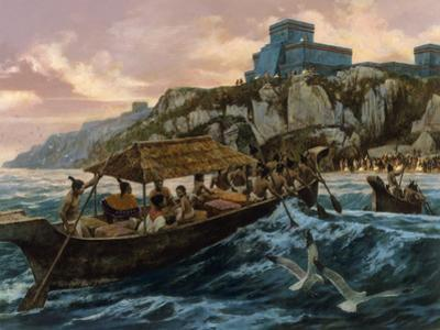 Cargo-Laden Canoes Follow Signal Fires to Shore Off Tulum by H. Tom Hall