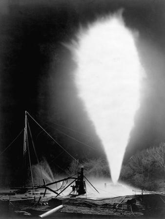 Natural Gas Wells, 1906. Burning Well at Independence, Kansas