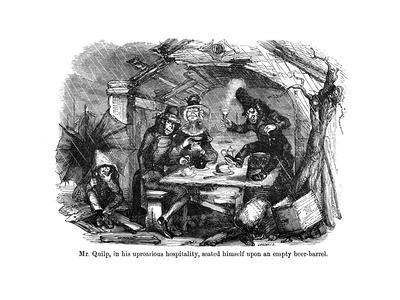 The Old Curiosity Shop, Mr Quilp Seated on Beer-Barrel