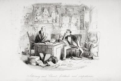 Attorney and Client, Fortitude and Impatience, Illustration from 'Bleak House' by Charles Dickens