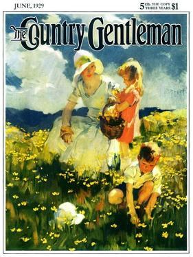 """""""Family in Field of Buttercups,"""" Country Gentleman Cover, June 1, 1929 by Haddon Sundblom"""
