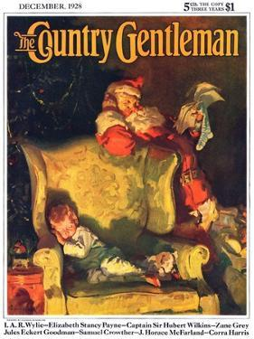 """Sleeping Through Santa's Visit,"" Country Gentleman Cover, December 1, 1928 by Haddon Sundblom"
