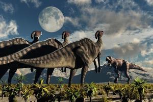 Hadrosaurid Duckbill Dinosaurs Use Soundwaves to Defend a Tyrannosaurus Rex