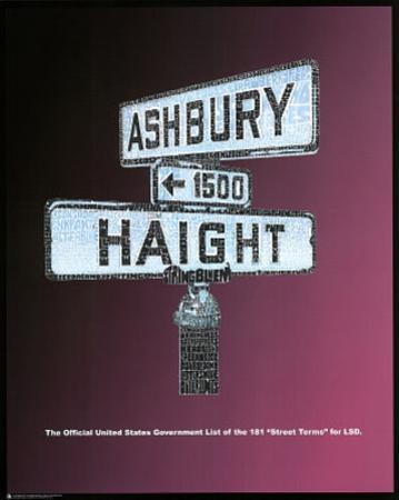 Haight Ashbury (LSD Street Terms) Art Poster Print