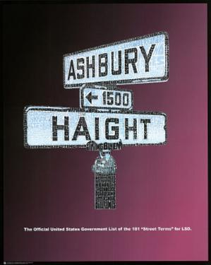 Haight Ashbury (LSD Street Terms) Art Poster Print