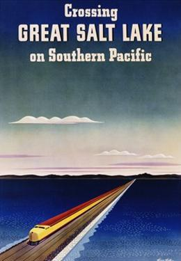 Crossing Great Salt Lake on Southern Pacific by Haines Hall