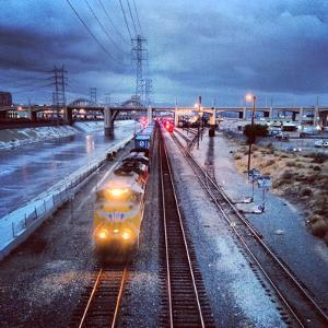Freight Train on Los Angeles River Mainline by Hal Bergman Photography