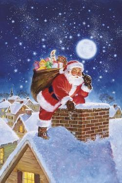Santa on Rooftop by Hal Frenck