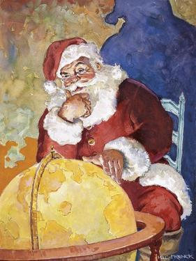 Santa with Globe by Hal Frenck