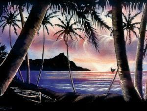 Sunrise Over Diamond Head, Hawaii c.1940s by Hale Pua Studio