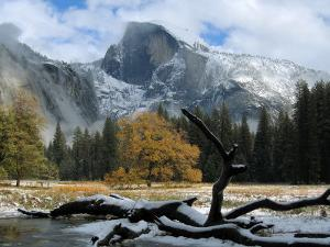 Half Dome is Seen with a Fresh Dusting of Snow in Yosemite National Park, California