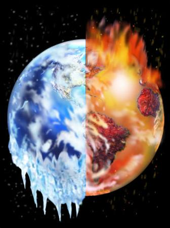 Half of the Earth Melting and Half of the Earth Burning