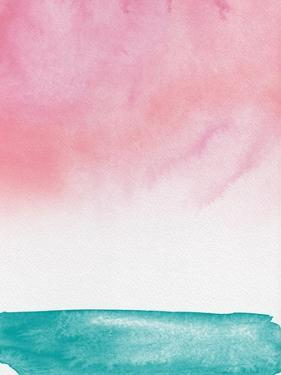 Blush Pink Sunset Watercolor by Hallie Clausen