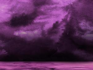 Ocean and Purple Sky Watercolor II by Hallie Clausen