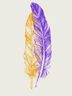 Purple and Yellow Feathers III by Hallie Clausen
