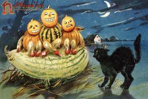 Hallowe'en Postcard with Jack-O'-Lanterns