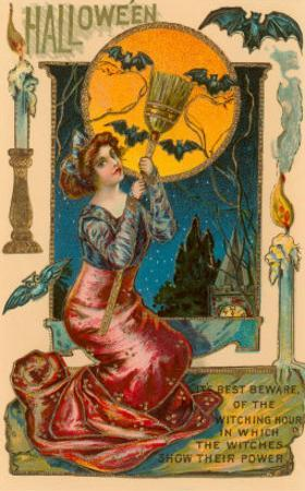 Halloween, Attractive Witch with Poem