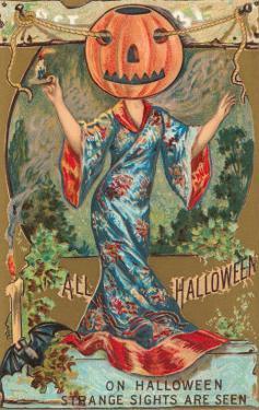 Halloween, Geisha with Jack O'Lantern Head