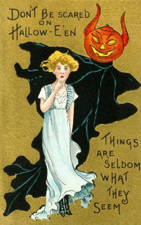 Halloween, Girl and Jack O'Lantern Goblin