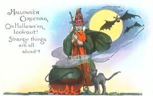 Halloween Greeting, Witch and Bats