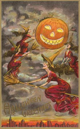 Halloween Greetings, Witches and Jack O'Lantern