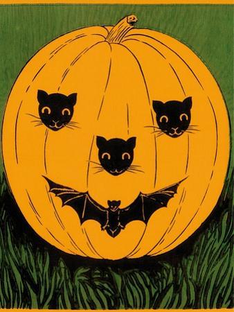Halloween, Jack O'Lantern with Cat and Bat Cut-Outs
