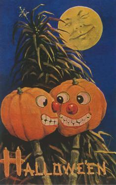 Halloween, Jack O'Lanterns with Corn Stalks