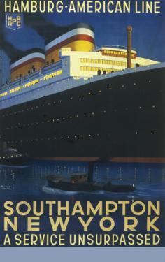 Hamburg American Line Passenger Ship Poster