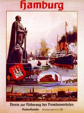 Hamburg: United for the Advancement of Tourism', Poster Advertising the Hamburg America Line, 1906