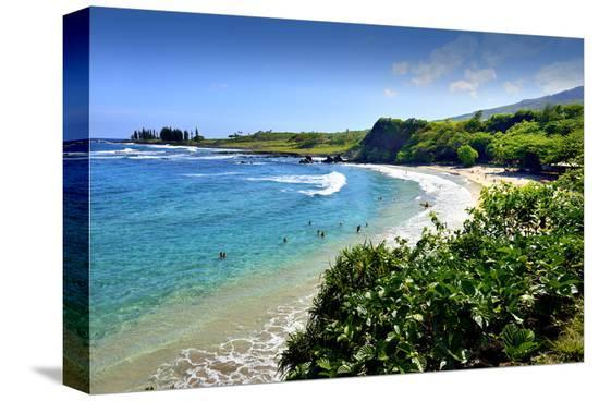 Hamoa Beach Park near Hana, Island of Maui, Hawaii, USA--Stretched Canvas Print