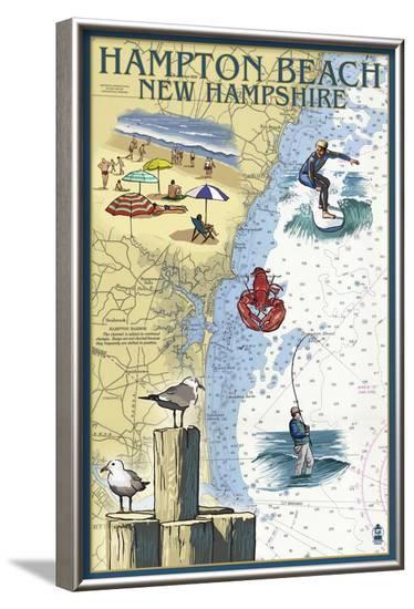 Hampton Beach, New Hampshire - Nautical Chart-Lantern Press-Framed Art Print