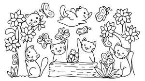 Hand Drawn Cute Cats Playing with Butterfly in the Forest,For Design Element and Coloring Book Page