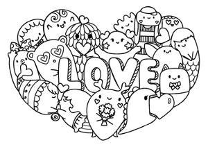 Hand Drawn Cute Monsters Form in Hearted Shape with the Letters LOVE for Printed Tee, Cards,Invitat