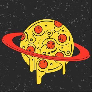 Hand Drawn Funny Illustration of Pizza-Looking Planet in Space. Modern Fast Food Stylish Logotype O