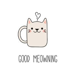 Hand Drawn Vector Illustration of a Kawaii Funny Steaming Mug Cup with Cat Ears, Text Good Meowning