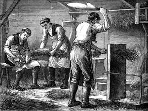 Hand-Scutchers at Work, C1880