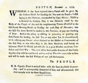 Handbill Warning Boston Patriots against Buying Tea, December 2, 1773