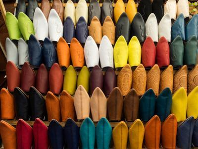 Handmade Leather Slippers for Sale in Souk, Fes, Morocco