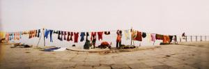 Hanging Clothes Out to Dry after Washing Them in the River, Ganges River, Varanasi, Uttar Pradesh,