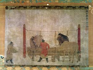 Hanging, of Grooms Feeding Horses, Ink and Watercolour on Silk, Attributed to Jen Jen-Far, Chinese