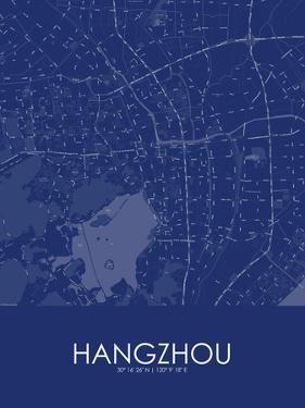 Hangzhou, China Blue Map