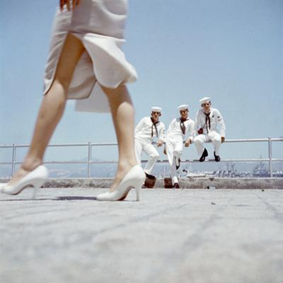 American Navy 7th Fleet Sailors on Shore Leave in Hong Kong, China, 1957 by Hank Walker